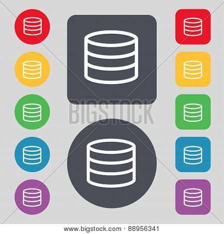 Hard Disk And Database Icon Sign. A Set Of 12 Colored Buttons. Flat Design. Vector