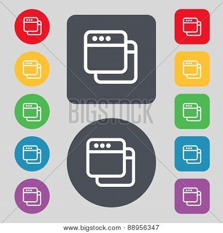 Simple Browser Window Icon Sign. A Set Of 12 Colored Buttons. Flat Design. Vector