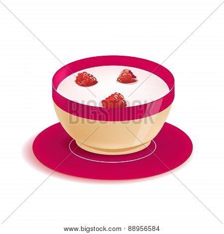 vector yogurt in plate with berries isolated