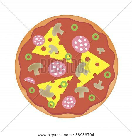 vector pizza with cheese, salami, mushrooms, olives