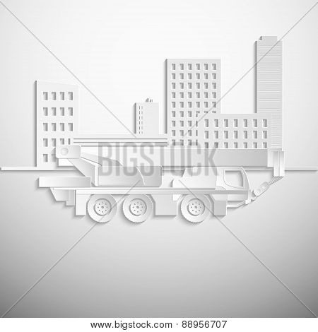 Vector illustration of a white hydraulic crawler crane