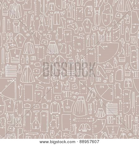 Seamless Hand Drawn Doodle Pattern With Clothes And Sewing Patterns. Good For Different Templates, S