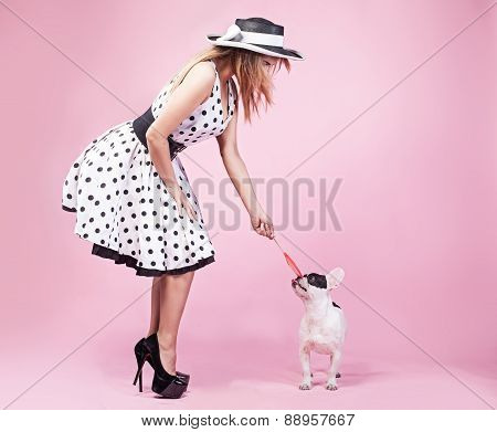Pinup Woman With Pug Dog.