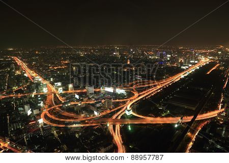 Bangkok Expressway And Highway Top View At Night