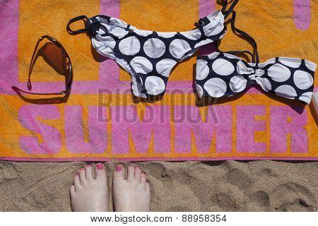 Feet View Of Beach Towel