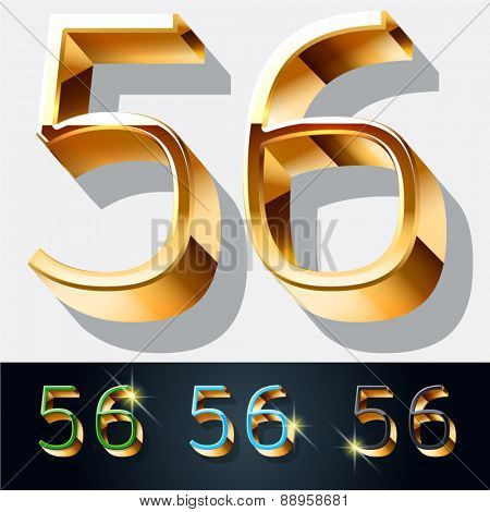 Vector set of elegant gold jewelry font. Numbers 5 6