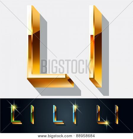 Vector set of elegant gold jewelry font. Letter L