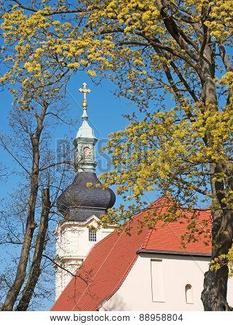 Church Steeple With Cross