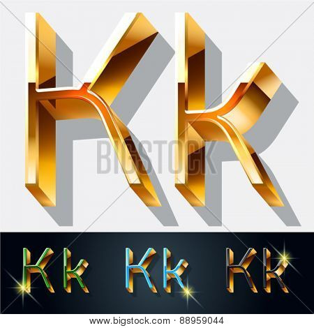 Vector set of elegant gold jewelry font. Letter K