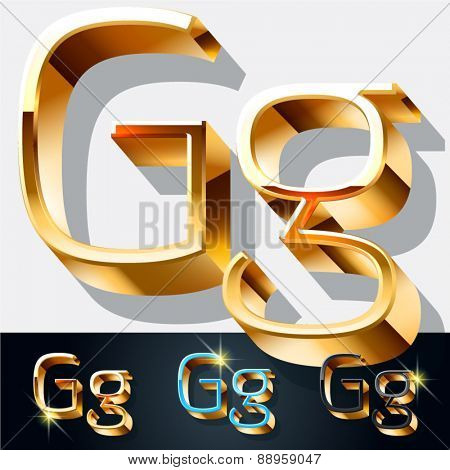 Vector set of elegant gold jewelry font. Letter G