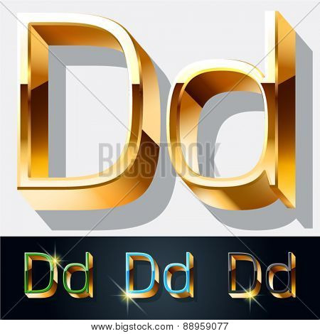 Vector set of elegant gold jewelry font. Letter D
