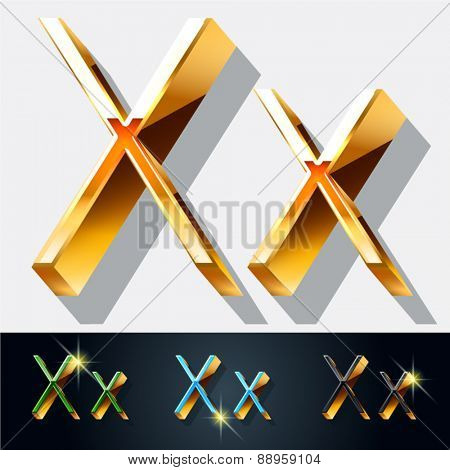 Vector set of elegant gold jewelry font. Letter X