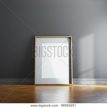 Blank Wood Picture Frame And Sunlight On A Wall. 3D Render