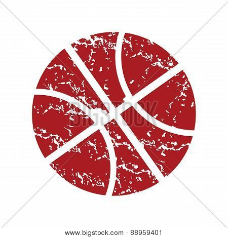 Red grunge basketball logo
