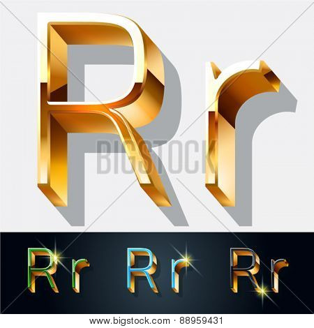 Vector set of elegant gold jewelry font. Letter R