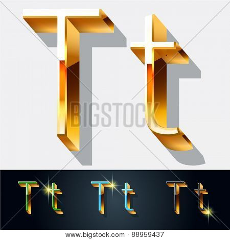 Vector set of elegant gold jewelry font. Letter T