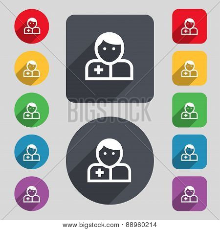 Doctor Icon Sign. A Set Of 12 Colored Buttons And A Long Shadow. Flat Design. Vector