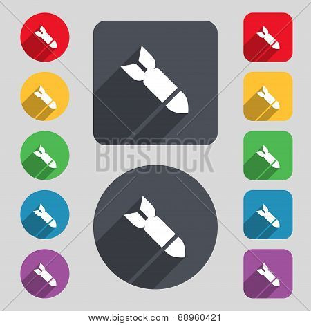 Missile,rocket Weapon Icon Sign. A Set Of 12 Colored Buttons And A Long Shadow. Flat Design. Vector