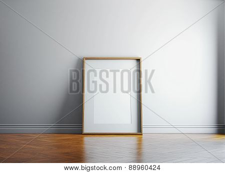 Vintage Blank Picture Frame And Sunlight On A Wall. 3D Render