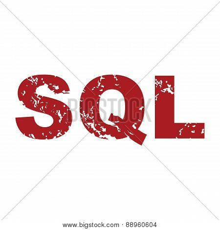 Red grunge sql logo