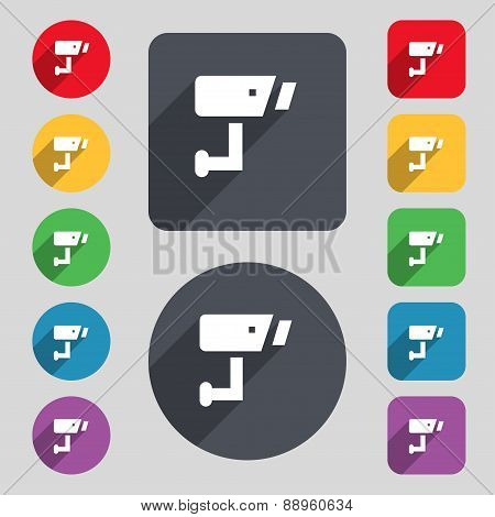 Surveillance Camera Icon Sign. A Set Of 12 Colored Buttons And A Long Shadow. Flat Design. Vector