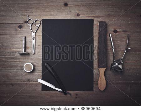Vintage Barber Tools And Black Poster
