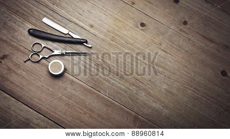 Vintage Barber Tools On Wood Table