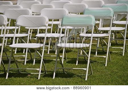 Chairs set up for a wedding party
