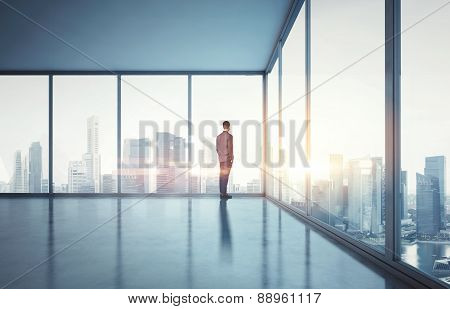 Businessman In Suit Looking At Sunrise In The City. 3D Render