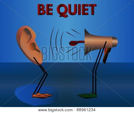 Warning: Be Quiet. Vector Cartoon.