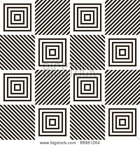 Abstract Seamless Geometric Black And White Pattern