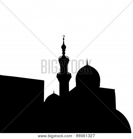 Islamic City Mosque Silhouette For Design. Vector Illustration