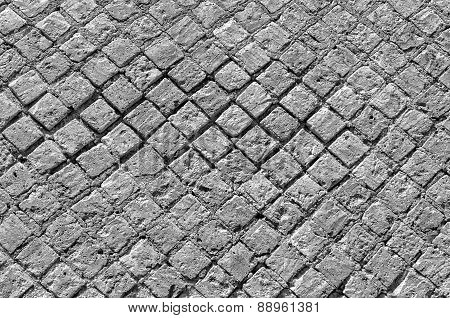 Black And White Stone Brick Wall Texture, May Use As Background