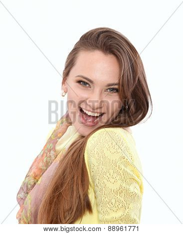 Beautiful woman portrait smiling isolated over white background