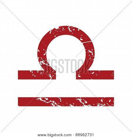 Red grunge Libra logo