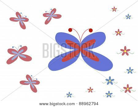 Summer Pattern With Butterflies And Flowers