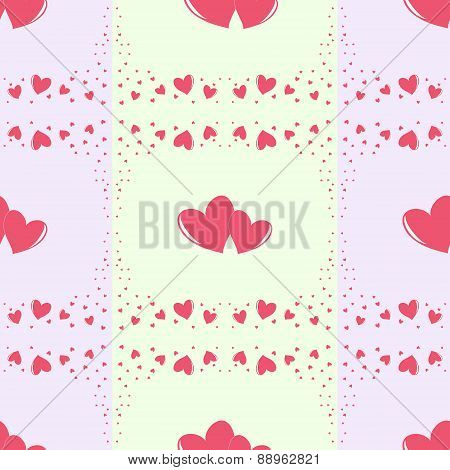 Romantic Seamless Pattern With Different Size Hearts