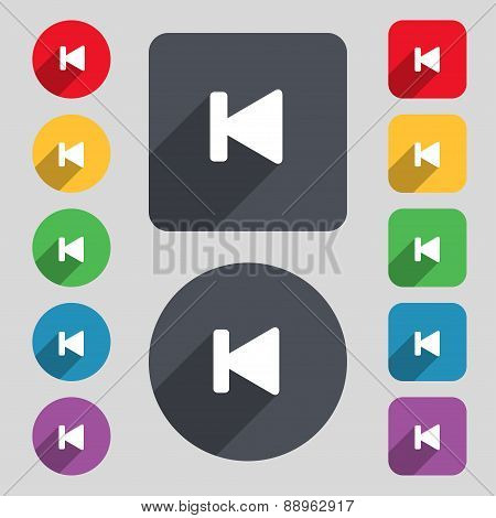 Fast Backward Icon Sign. A Set Of 12 Colored Buttons And A Long Shadow. Flat Design. Vector