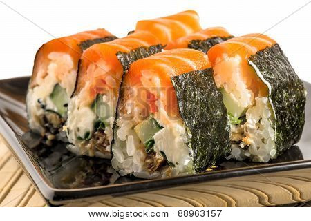 Delicious Traditional Japanese Food - Rolls With Salmon