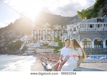 Young Couple Near Beach In Sunny Day, Positano, Amalfi Coast, Italy