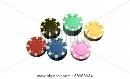 Casino Chips Of 6 Color White Background