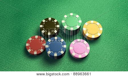 Casino Chips Of 6 Color