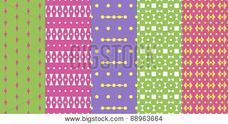 Set Of Abstract Seamless Colorful Patterns
