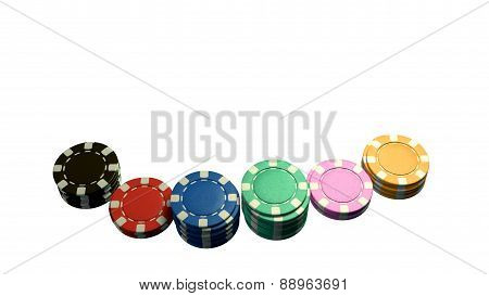 Casino Chips Of Bet White Background