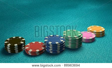 Casino Chips Of Bet Side Angle Blue Table