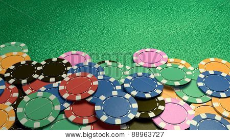 Casino Chips Show Hand Green Table