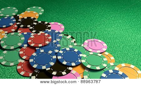 Many Of Casino Chips Green Table