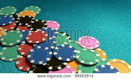Many Of Casino Chips Blue Table