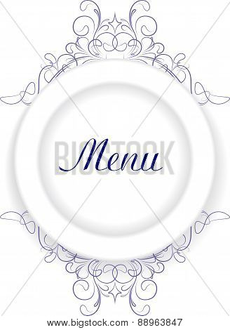 Original menu design with plate and an empty space for text. Vector illustration for your design.