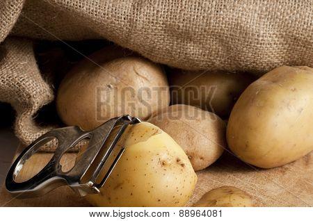 Potatoes Outside A Jute Sack